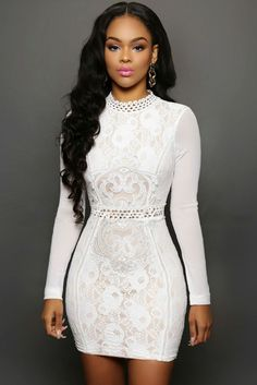 White Lace Mesh Sleeves Mini Dress