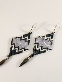 Icy Diamond Shaped Seed Beaded Earrings by Calisi on Etsy