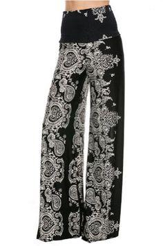Fashion Forever Darling 878Black Paisley Wide Leg Yoga Palazzo Pants Misses  (S) Fashion Forever dbf676bf270b