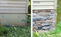 to Add Stone Veneer to a Concrete Foundation Wall DIY Easy update to hide exposed concrete foundation by adding stone veneerEasy update to hide exposed concrete foundation by adding stone veneer Stone Veneer Exterior, Faux Stone Veneer, Faux Stone Siding, Stone Veneer Panels, Faux Stone Panels, Stone Facade, Stone Cladding, Stone On House Exterior, Brick Veneer Siding