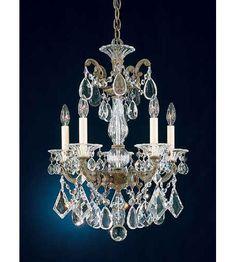 Schonbek La Scala 5 Light Pendant in Ancient Bronze and Handcut Crystal 5005-65