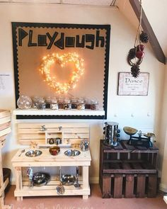 I have been inspired by the work of Roseville nursery and added plastic jars to our malleable area. Today I have added loose parts and… Reggio Classroom, Classroom Organisation, New Classroom, Classroom Setup, Classroom Design, Kindergarten Classroom, Preschool Rooms, Nursery Activities, Preschool Activities