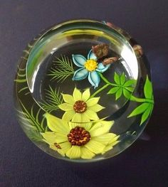 1986 Limited Edition 124/250 Caithness Paperweight FLUTTER BY by William Manson