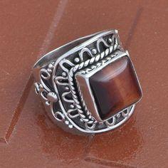 925 SOLID STERLING SILVER NEW STLISH YELLOW TIGER EYE RING 7.90g DJR3676 #Handmade #Ring