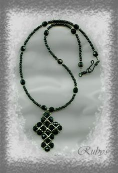 right angle weave cross pendant #rightangleweave