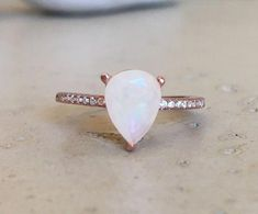 Items similar to Pear Opal Engagement Ring- Opal Promise Ring- October Birthstone Ring- Genuine Opal Anniversary Ring- Simple Minimalist Opal Ring on Etsy Opal Promise Ring, Promise Rings For Her, Pear Shaped Engagement Rings, Engagement Ring Shapes, Solitaire Engagement, Wedding Engagement, Ring Set, Ring Verlobung, Rings Pandora