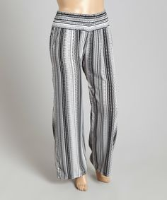Look at this Black Stripe French Crepe Palazzo Pants - Plus on #zulily today!