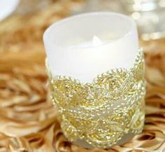 Add Gold lace to candles for an elegant effect!