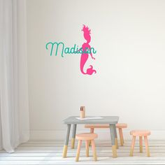 Mermaid with name Monogram Wall Decals, Cleaning Walls, Single Sheets, Initial Letters, Vinyls, Initials, Mermaid, Names, Colours
