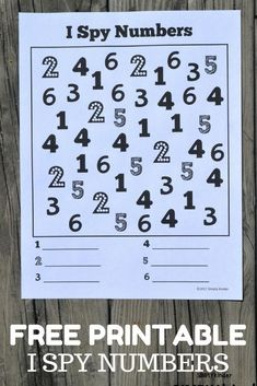 I Spy Numbers Free Printable