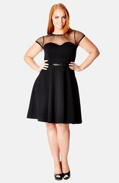 City Chic Dot Yoke Fit & Flare Dress (Plus Size) available at #Nordstrom