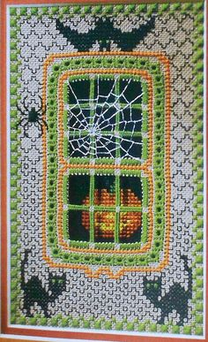 Patricia Andrle HALLOWEEN WINDOW 3D by ThePamperedStitcher on Etsy, $6.75- From Cross Stitch and Needlework- October 1997