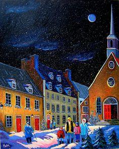 Neige de nuit dans le vieux Quebec (Nighttime Snowfall in Old Quebec City), a lithograph by Louise Marion