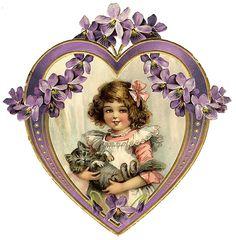 Valentine's Day Fabric Block Vintage Postcard on Fabric Victorian Girl Heart Clip Art Vintage, Vintage Cat, Vintage Labels, Vintage Ephemera, Vintage Postcards, Victorian Valentines, Vintage Valentine Cards, Vintage Pictures, Vintage Images