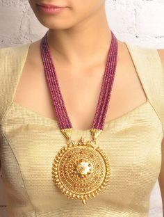 Buy Golden Wine Purple Mayooram Ruby Necklace 92.5% Sterling Silver Online at Jaypore.com
