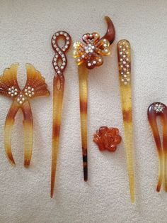 Antique  Victorian  Rhinestones and Faux Tortise Shell Celluloid ? Hair Combs