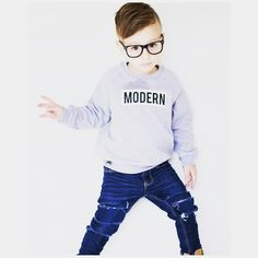 """Little Wonderland Clothing on Instagram: """"MODERN• One of epic style..! There is a difference between fashion + style ALWAYS BE ORIGINAL <no one likes copycats> Braxton with his rock star style.. Lovin our MODERN fleece + distressed denim @farmfreshdenim + specks @fjs_popshop  Braxton carry on with your rad little self #streetstyle #ootd #style #trendykiddies #hipsterkidstyles #trendy_tots #igkiddies #kidfashion #weekleyoutfitter #toddlerfashion #baby #hipster #hipkids"""