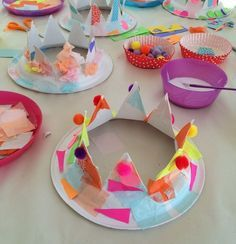 paper crowns today inspired by Paper Plate Crafts, Paper Plates, Art For Kids, Crafts For Kids, Arts And Crafts, Castle Crafts, Paper Crowns, World Crafts, Thinking Day