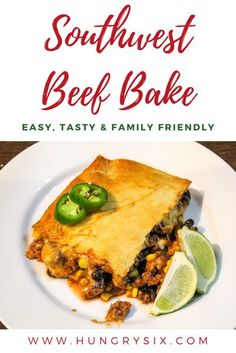 Southwest Beef Bake - Crescent Dough, Beef, Corn, Onion, Black Beans, Tomato Sauce and Diced Tomatoes Fast Dinner Recipes, Fast Dinners, Delicious Dinner Recipes, Easy Meals, Yummy Food, Lunch Recipes, Beef Recipes, Easy Recipes, Savoury Recipes
