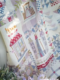 'Foxley Village' block of the month quilt designed by Natalie Bird for Homespun magazine (published over 10 months starting in Homespun February 2016 issue, finishing in November 2016 issue). Featuring Tilda fabrics.