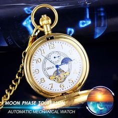 46.50$  Buy here - http://aliagp.shopchina.info/go.php?t=32707282378 - OGLE Retro Moon Phase Tourbillon 24H Mens Lady Women Student Analog Necklace Chain Pendant Automatic Mechanical Fob Pocket Watch 46.50$ #shopstyle