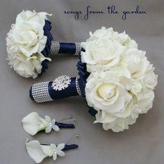 Navy White Wedding Flower Bridal Bouquet Real Touch Callas Lily Roses – My Wedding Dream Church Wedding Flowers, Wedding Flower Packages, White Wedding Flowers, Bridal Flowers, Flower Bouquet Wedding, Silk Flowers, Wedding Colors, Wedding Ideas, Trendy Wedding