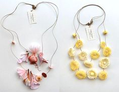fabric flower necklaces - Lyndie Dourthe