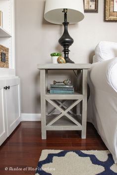 Simple gray X tall nightstand bedside table ideas how to make build farmhouse style pretty white end table