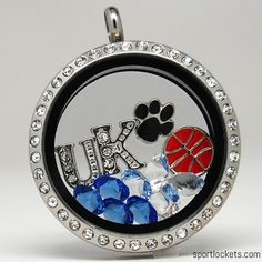 Kentucky Wildcats themed locket necklace from SportLockets.com. Customize with your own letters, stones, and charms!