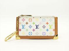 Louis Vuitton Authentic Monogram MULTICOLORE Blanc Key Chain Coin Purse Wallet #LouisVuitton #CoinPurse