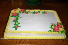 1/2 Sheet cake with hand-made, marshmallow fondant roses