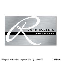 Monogram Professional Elegant Modern Silver Metal Pack Of Standard Business Cards
