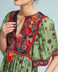 Green/Multicolor Anthropologie Basi Embroidered By Boho Large Long Casual Maxi Dress Size 12 (L) - Tradesy Ethnic Fashion, Colorful Fashion, Boho Fashion, Girl Fashion, Womens Fashion, Fashion Tips, Fashion Design, Korean Fashion, Fashion Dresses