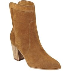Ivanka Trump ItLory 3 Suede Boots ($169) ❤ liked on Polyvore featuring shoes, boots, natural, ivanka trump, block heel boots, ivanka trump boots, pointy toe boots and ivanka trump shoes