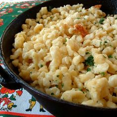 Spaetzle. The German restautant in Independence MO had amazing cheesey spaetzle. LOVE.