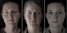 "Private Becky Hitchcock's portraits before, during and after war taken by photographer Lalage Snow - ""We Are The Not Dead"" series."
