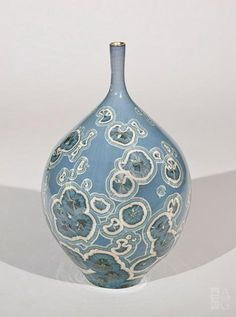 Bill Boyd - Blue Magic Bottle - ceramic - 8 x 4.75