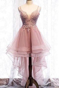 Romantic High Low Floral Prom Party Dress Tiered Pink Tulle Illusion Neckline Spaghetti Straps Winter Prom Dresses, Pink Prom Dresses, Prom Dresses Online, Prom Party Dresses, Evening Dresses, Short Dresses, Girls Fashion Clothes, Teen Fashion Outfits, Women's Fashion Dresses