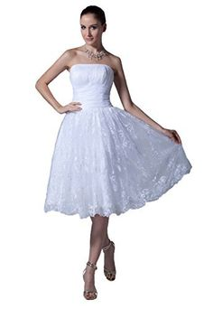 Product review for Snowskite Women's Strapless Short Lace Satin Beach Wedding Bridal Formal Dress.  - We also support customized size to fit your figure better. The dress will be made according to your body measurements. Please contact us for more details. Additional fee may be charged. The return of customized dress is not eligible except the dress damaged due to a manufacturing defect. Please...