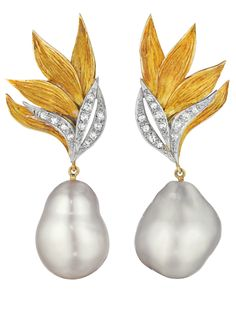 A Pair of Baroque Cultured Pearl and Diamond Ear Pendants by Grima, circa 1960's. (Via Phillips.)
