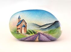 Painted stone, sasso dipinto a mano. Provence