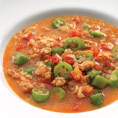 Warm up this winter with a hot bowl of Sausage Gumbo - it's loaded with nutrient-rich okra. #mardigrasrecipes #healthyrecipes #winterrecipes #everydayhealth | everydayhealth.com