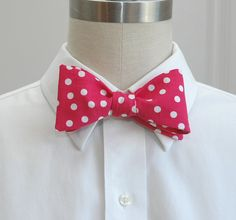Men's Bow Tie in hot pink with white polka dots by CCADesign, $28.00