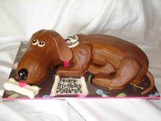 weiner dog birthday cake