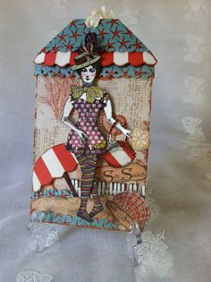 Beach Paper  Doll Mixed Media Tag Articulated by ParisPluie, $17.00