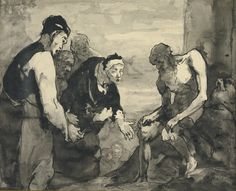 Théodule Ribot (1823-1891), JOB BERATED BY HIS WIFE AND THREE FRIENDS, Ink and wash on paper, 25.7x31.1 cm.