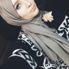 gray hijab/scarf + black and white aztec print oversized knit sweater