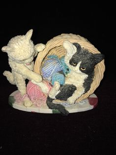 Playing Kittens Cats with Ball of Yarn Figurine   eBay