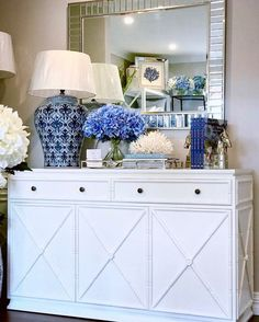 Create your dream home with our stunning range of Hamptons, Classic, Coastal & French luxury furnishings! Shop online anytime with Australia wide delivery & Afterpay! (Link in bio) 💙 White Sideboard Buffet, Sideboard Decor, White Console Table, Hamptons Style Bedrooms, Hamptons Style Decor, Dining Room Blue, Living Room White, Hallway Table Decor, Room Decor
