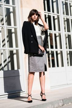Black boyfriend blazer, white mock neck top, silver metallic pencil skirt, black heels, black chain strap bag - Holiday outfits, party outfits, thanksgiving outfits, christmas outfits, new years eve outfits, fashion trends 2017, fall outfits, fall work outfits, fall fashion trends 2017, holiday office party outfits.